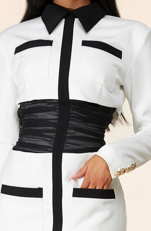 White Color Block High Mesh Contour Waist Blazer Dress 5