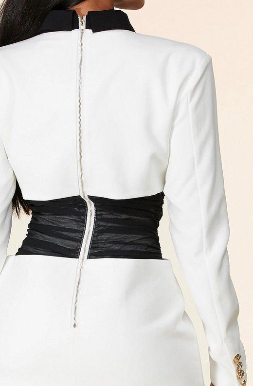 White Color Block High Mesh Contour Waist Blazer Dress 6