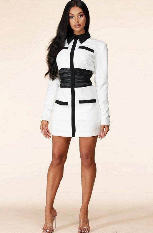 White Color Block High Mesh Contour Waist Blazer Dress 7