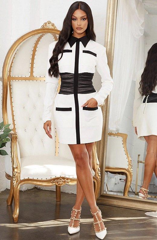 White Color Block High Mesh Contour Waist Blazer Dress 8