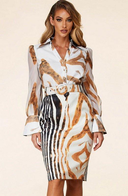 Zebra Print Long Sleeves Midi Skirt Belted Dress 1