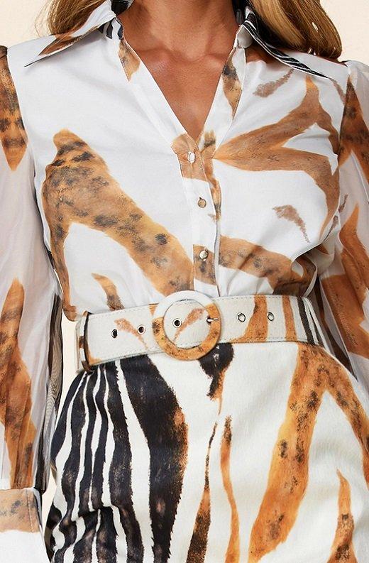 Zebra Print Long Sleeves Midi Skirt Belted Dress 4