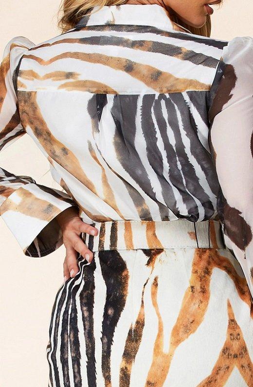 Zebra Print Long Sleeves Midi Skirt Belted Dress 5