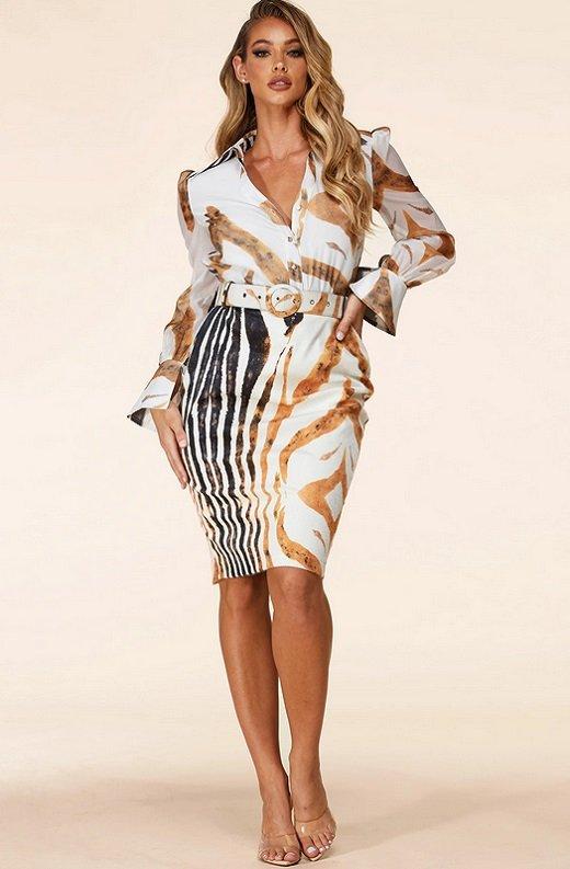 Zebra Print Long Sleeves Midi Skirt Belted Dress 6