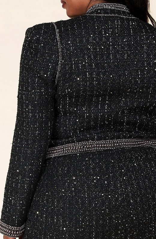 Black Iridescent Rhinestone Pearl Embellished Two Piece Set Plus Size 6