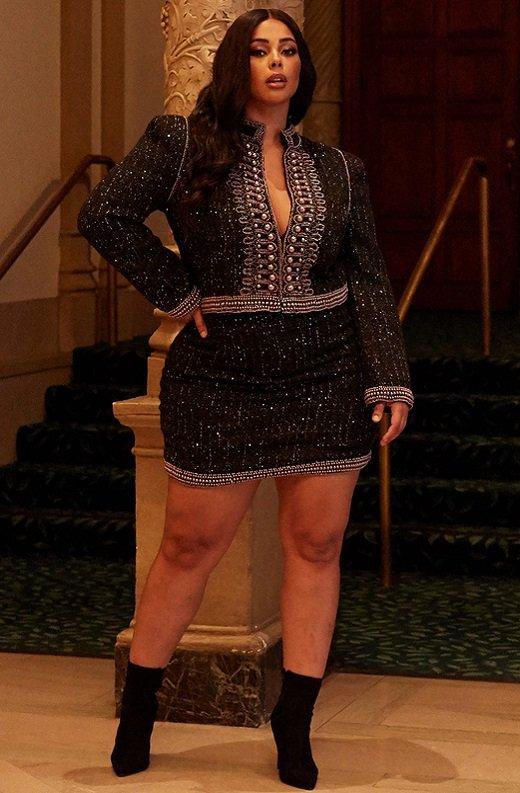 Black Iridescent Rhinestone Pearl Embellished Two Piece Set Plus Size 9