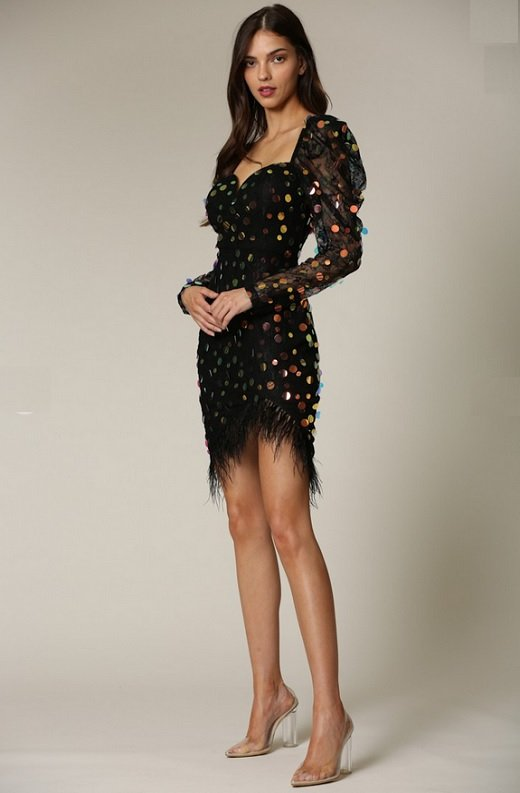 Black Iridescent Sequins Lace Sweetheart Pugg Sleeves Dress 3