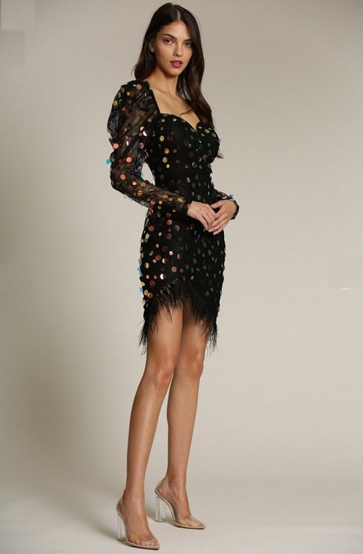 Black Iridescent Sequins Lace Sweetheart Pugg Sleeves Dress 4