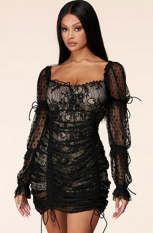 Black Lace Ruched Mesh Long Sleeves Mini Dress 1