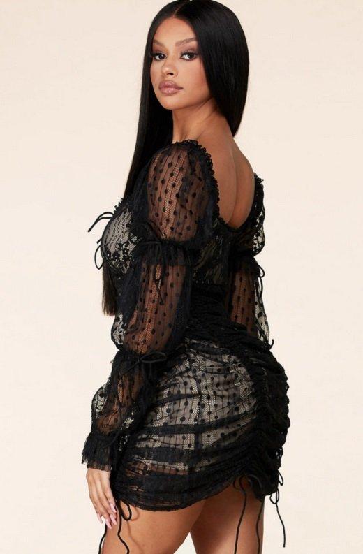 Black Lace Ruched Mesh Long Sleeves Mini Dress 2