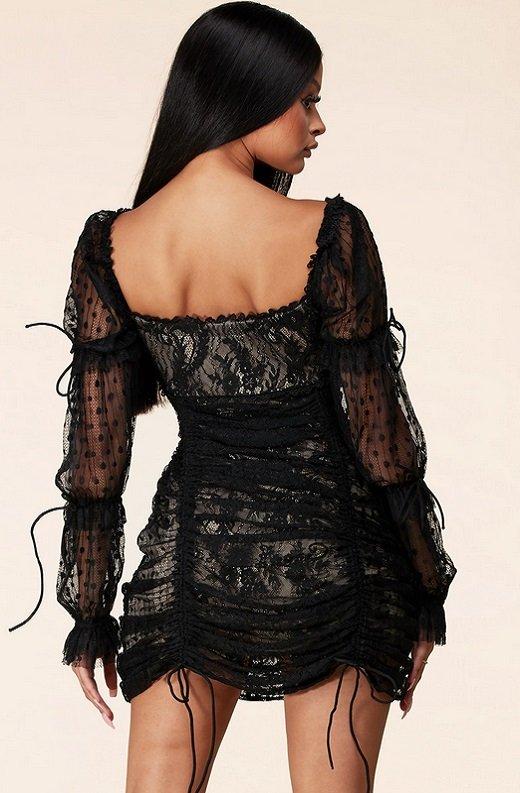 Black Lace Ruched Mesh Long Sleeves Mini Dress 3