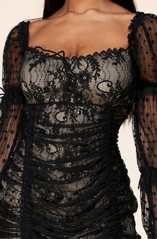 Black Lace Ruched Mesh Long Sleeves Mini Dress 4