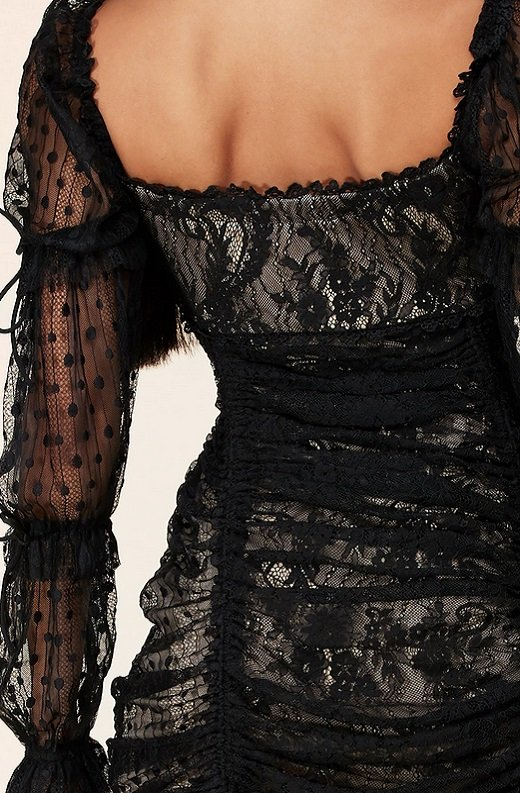 Black Lace Ruched Mesh Long Sleeves Mini Dress 5