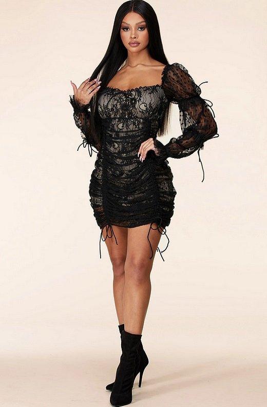 Black Lace Ruched Mesh Long Sleeves Mini Dress 6