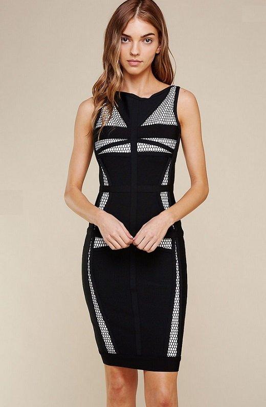 Black Mesh Contrast Sleeveless Silhouette Bandage Dress 2