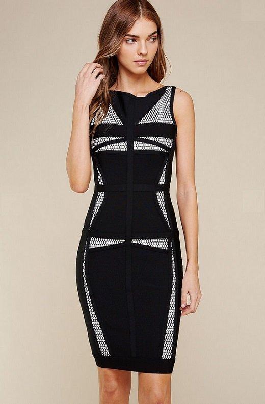 Black Mesh Contrast Sleeveless Silhouette Bandage Dress 3