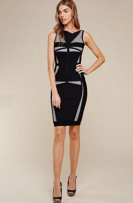 Black Mesh Contrast Sleeveless Silhouette Bandage Dress 4