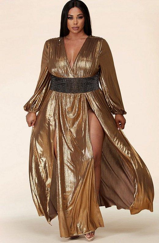 Gold Metallic Iridescent Rhinestones Waist Belted Maxi Dress Plus Size 1