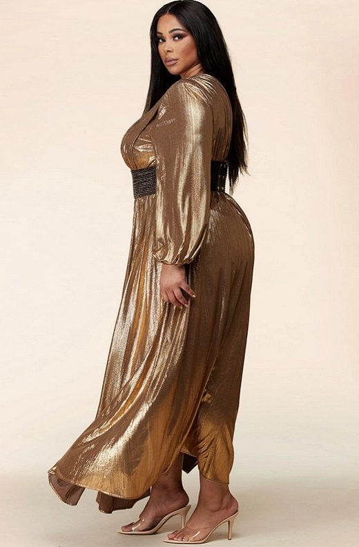 Gold Metallic Iridescent Rhinestones Waist Belted Maxi Dress Plus Size 2