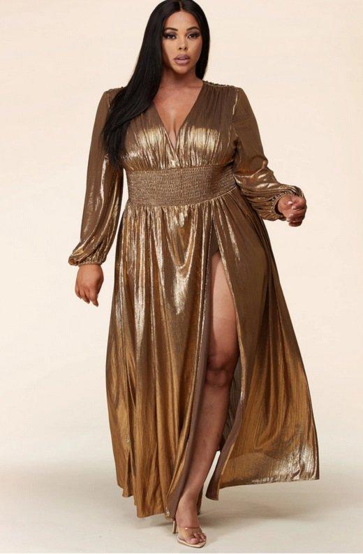 Gold Metallic Iridescent Rhinestones Waist Belted Maxi Dress Plus Size 6