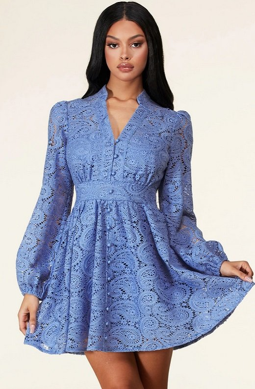 Iced Blue Crochet Floral Lace Waist Dress 1