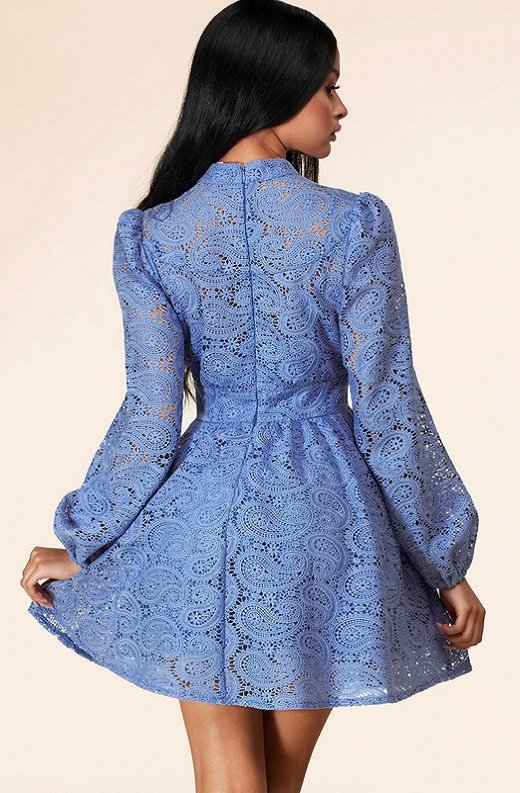 Iced Blue Crochet Floral Lace Waist Dress 3