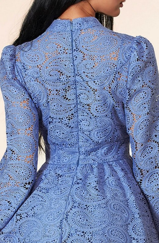 Iced Blue Crochet Floral Lace Waist Dress 5