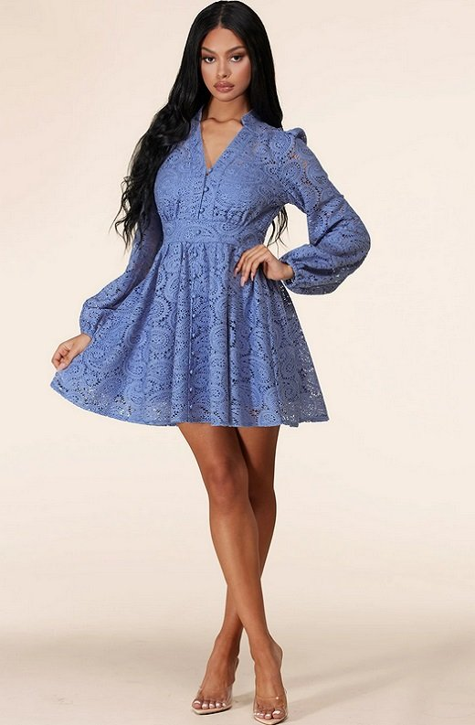 Iced Blue Crochet Floral Lace Waist Dress 6