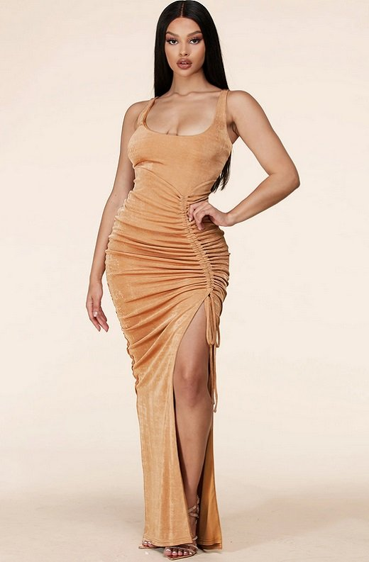 Taupe Curve Hugging Bodycon Knit Maxi Dress 1