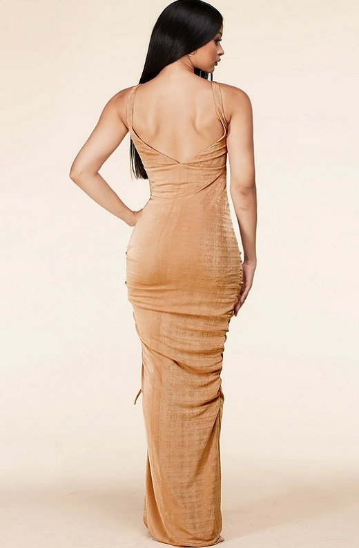 Taupe Curve Hugging Bodycon Knit Maxi Dress 3