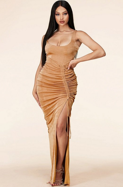 Taupe Curve Hugging Bodycon Knit Maxi Dress 6