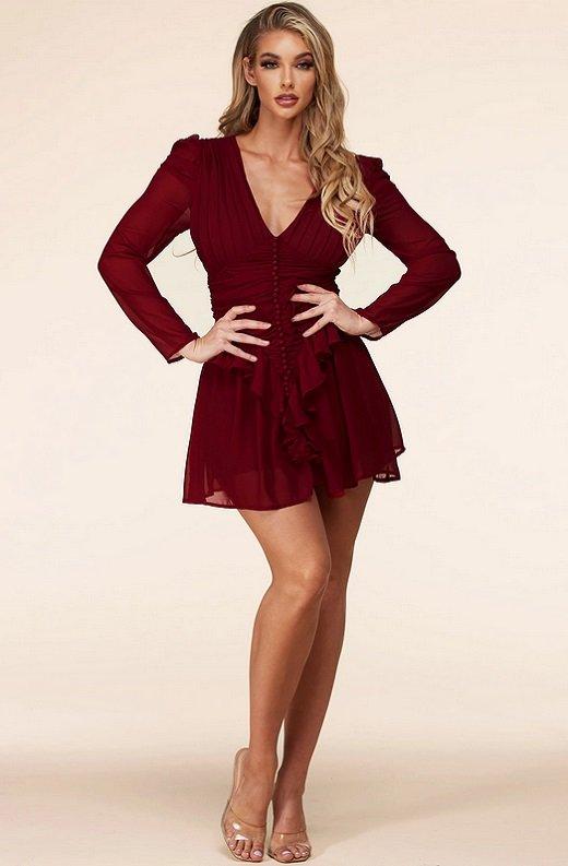Wine Ruffle Lace V Neck Long Sleeves Dress 1