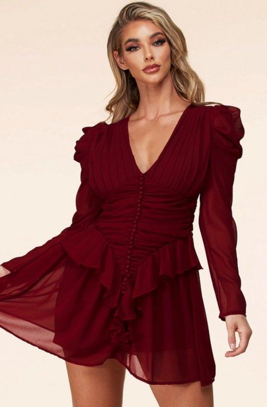 Wine Ruffle Lace V Neck Long Sleeves Dress 2