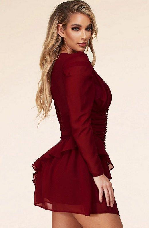 Wine Ruffle Lace V Neck Long Sleeves Dress 3