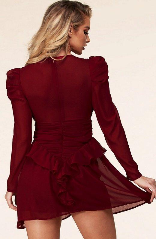 Wine Ruffle Lace V Neck Long Sleeves Dress 4