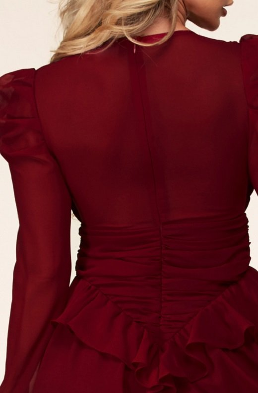 Wine Ruffle Lace V Neck Long Sleeves Dress 6