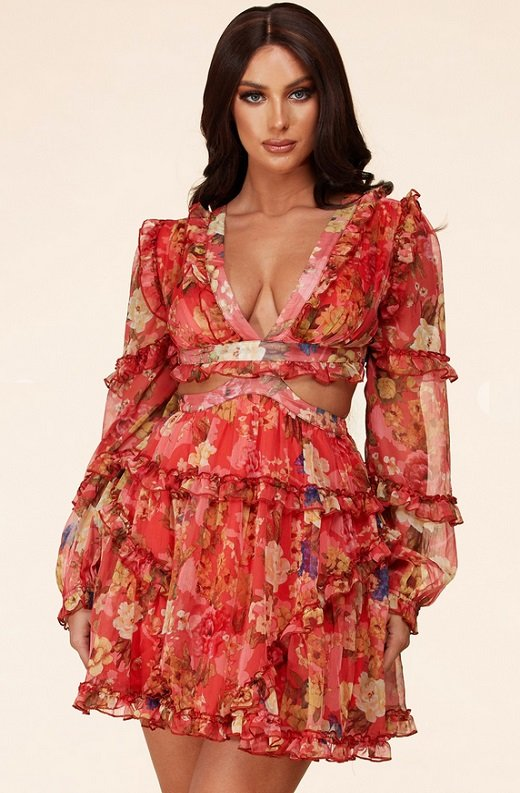 Coral Floral Print Ruffle Cut Out Tie Up Back Mini Dress 1