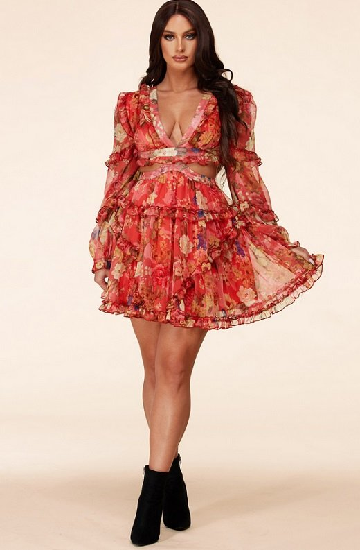 Coral Floral Print Ruffle Cut Out Tie Up Back Mini Dress 6