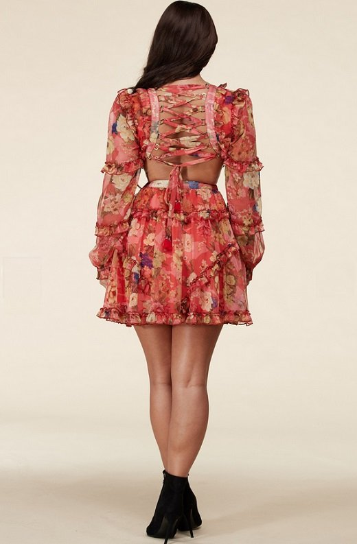 Coral Floral Print Ruffle Cut Out Tie Up Back Mini Dress 7