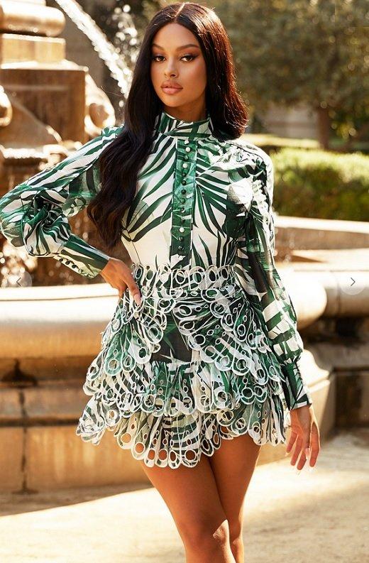 Green Tropical Leaf Print Bodycon Dress 1