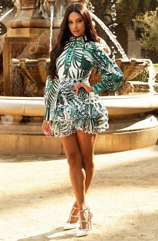 Green Tropical Leaf Print Bodycon Dress 2