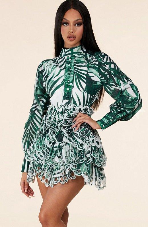 Green Tropical Leaf Print Bodycon Dress 3