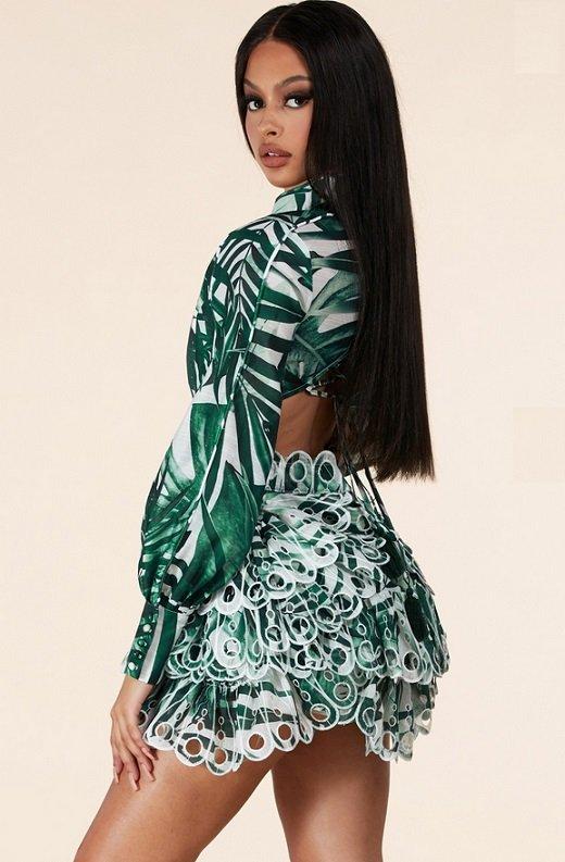Green Tropical Leaf Print Bodycon Dress 4