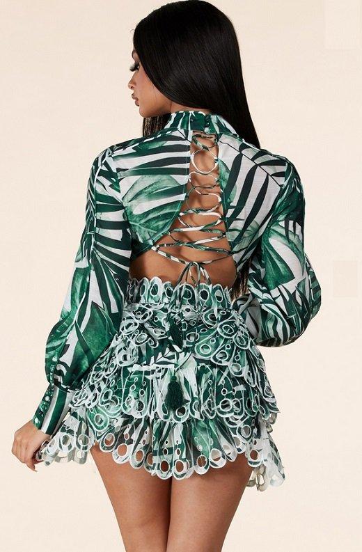 Green Tropical Leaf Print Bodycon Dress 5