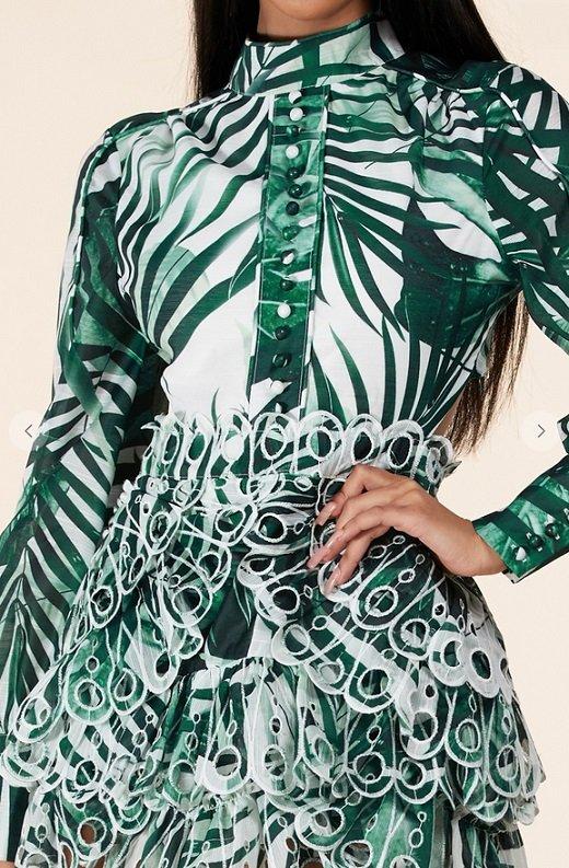 Green Tropical Leaf Print Bodycon Dress 6