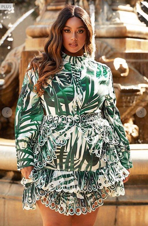 Green Tropical Leaf Print Long Sleeves Bodycon Dress PLUS SIZE 1