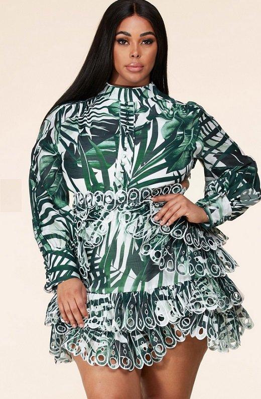Green Tropical Leaf Print Long Sleeves Bodycon Dress PLUS SIZE 3