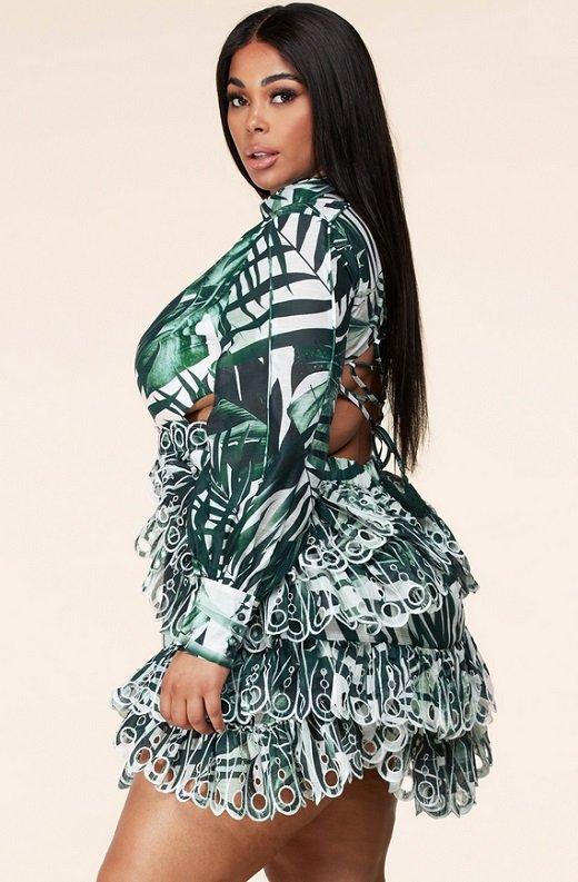 Green Tropical Leaf Print Long Sleeves Bodycon Dress PLUS SIZE 4
