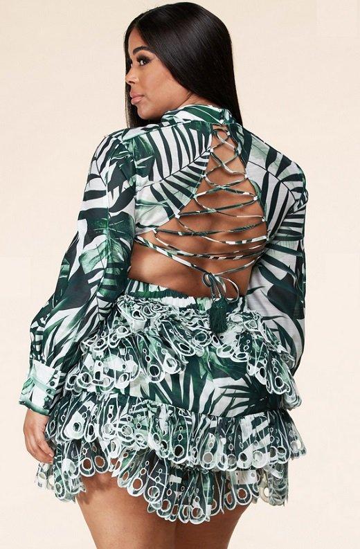 Green Tropical Leaf Print Long Sleeves Bodycon Dress PLUS SIZE 5