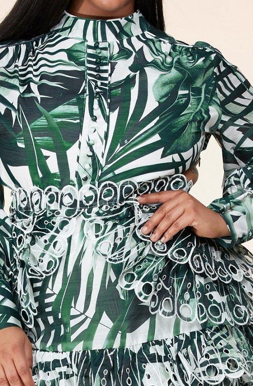 Green Tropical Leaf Print Long Sleeves Bodycon Dress PLUS SIZE 6